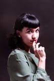 一名妇女的画象在演播室 库存照片