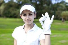 一名妇女的画象有高尔夫球的 库存图片