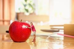一名小的妇女洗涤苹果计算机 免版税库存照片