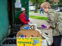 一名年长妇女给可回收材料在招待会点,市沃罗涅日 库存图片