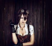 一名性感的steampunk妇女的画象 库存图片