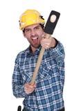 一名恼怒的建筑工人 免版税库存图片