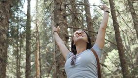 一名愉快的妇女的画象在森林,女孩享用木头,有背包的游人在国家公园,旅行生活方式 免版税库存图片