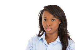 一名愉快的学生妇女的特写 免版税图库摄影