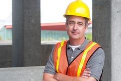 一名愉快的建筑工人的画象 库存图片