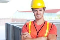 一名新建筑工人的纵向 免版税库存照片