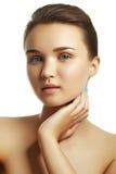 一名新白种人妇女的美丽的表面 妇女秀丽面孔 库存照片