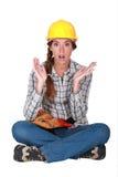 一名无知的建筑工人。 库存图片