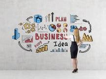 一名白肤金发的女实业家的背面图画一个五颜六色的企业想法剪影的一条黑裙子的 免版税库存图片