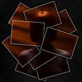 一名神奇红发妇女,画象一个隐姓埋名的女孩,面孔或者身体的剪影有光秃的肩膀的被划分成许多 免版税图库摄影