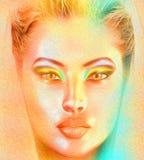 一名精神妇女的面孔关闭与与一个五颜六色的抽象梯度作用的面纱 库存图片