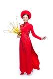 一名美丽的亚裔妇女的画象传统节日费用的 免版税图库摄影