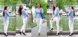 一名美丽的妇女的全长画象白色裤子的和蓝色 免版税库存图片