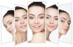 一名美丽的妇女的拼贴画有完善的干净的皮肤的 免版税库存照片