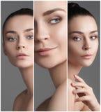 一名美丽的妇女的拼贴画有完善的干净的皮肤的 库存照片