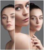 一名美丽的妇女的拼贴画有完善的干净的皮肤的 免版税库存图片