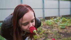 一名美丽的妇女的画象在公园嗅玫瑰 特写镜头面孔和上升了 侧视图 影视素材