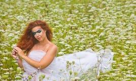 一名美丽的妇女的表面艺术纵向 库存图片