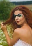 一名美丽的妇女的表面艺术纵向 免版税库存照片