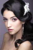 一名美丽的妇女的画象一套婚礼礼服的在新娘的图象 秀丽表面 免版税库存图片