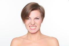 一名美丽的妇女的画象有光秃的肩膀的 免版税库存图片