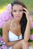 一名美丽的性感的妇女的画象海滩的 免版税图库摄影