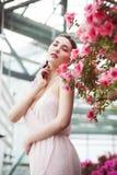一名美丽的深色的妇女的画象桃红色礼服的和五颜六色在杜娟花庭院里组成户外 库存照片
