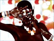 一名美丽的非洲妇女的现代数字式艺术图象 库存图片