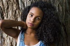 一名美丽的年轻美国黑人的妇女的画象户外su的 免版税库存图片