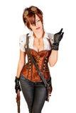 一名美丽的steampunk妇女的画象 图库摄影