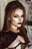 一名美丽的steampunk妇女的画象 免版税库存照片