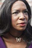 美丽的非裔美国人的妇女顶头射击  库存图片