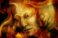一名艺术性的妇女的特写镜头画象绘与红色和绿色 库存照片