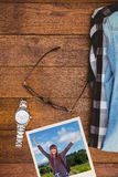 一名行家妇女的侧视图的综合图象有旅行袋子的 图库摄影