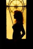 一名迷人的妇女的剧烈的画象黑暗的 免版税图库摄影