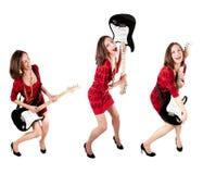 一名逗人喜爱的吉他弹奏者妇女的收集照片 图库摄影