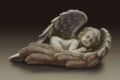 一名逗人喜爱的婴儿天使丘比特的雕象 免版税库存图片