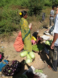 一名部族妇女出售新鲜蔬菜 库存图片