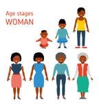 一名非裔美国人的妇女的年龄阶段 平的样式例证 库存例证