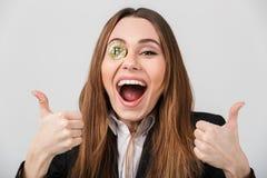 一名高兴女实业家的画象 免版税库存照片