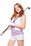 一名高尔夫球运动员的垂直的画象有一家高尔夫俱乐部的在白色 库存照片