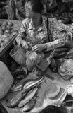 一名高棉妇女在市场上在Kep镇,柬埔寨 库存图片