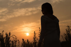 一名年轻亚裔妇女的剪影 免版税库存图片