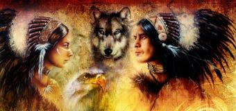 一名年轻印地安男人和妇女的美丽的图画伴随于狼和老鹰在黄色装饰品背景 免版税库存图片