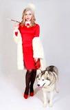 一名年轻可爱的妇女的画象有一条多壳的狗的 库存图片