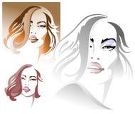 一名年轻性感的妇女的三张画象 免版税库存图片