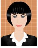 一名年轻深色的妇女的画象有短发的 免版税库存图片