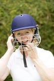 一名年长女性玩板球者的画象 免版税图库摄影
