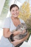 一名年长妇女拿着猫品种苏格兰人折叠 免版税库存图片