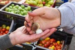 一名年长妇女的手,当买在市场上时的产品 免版税库存图片
